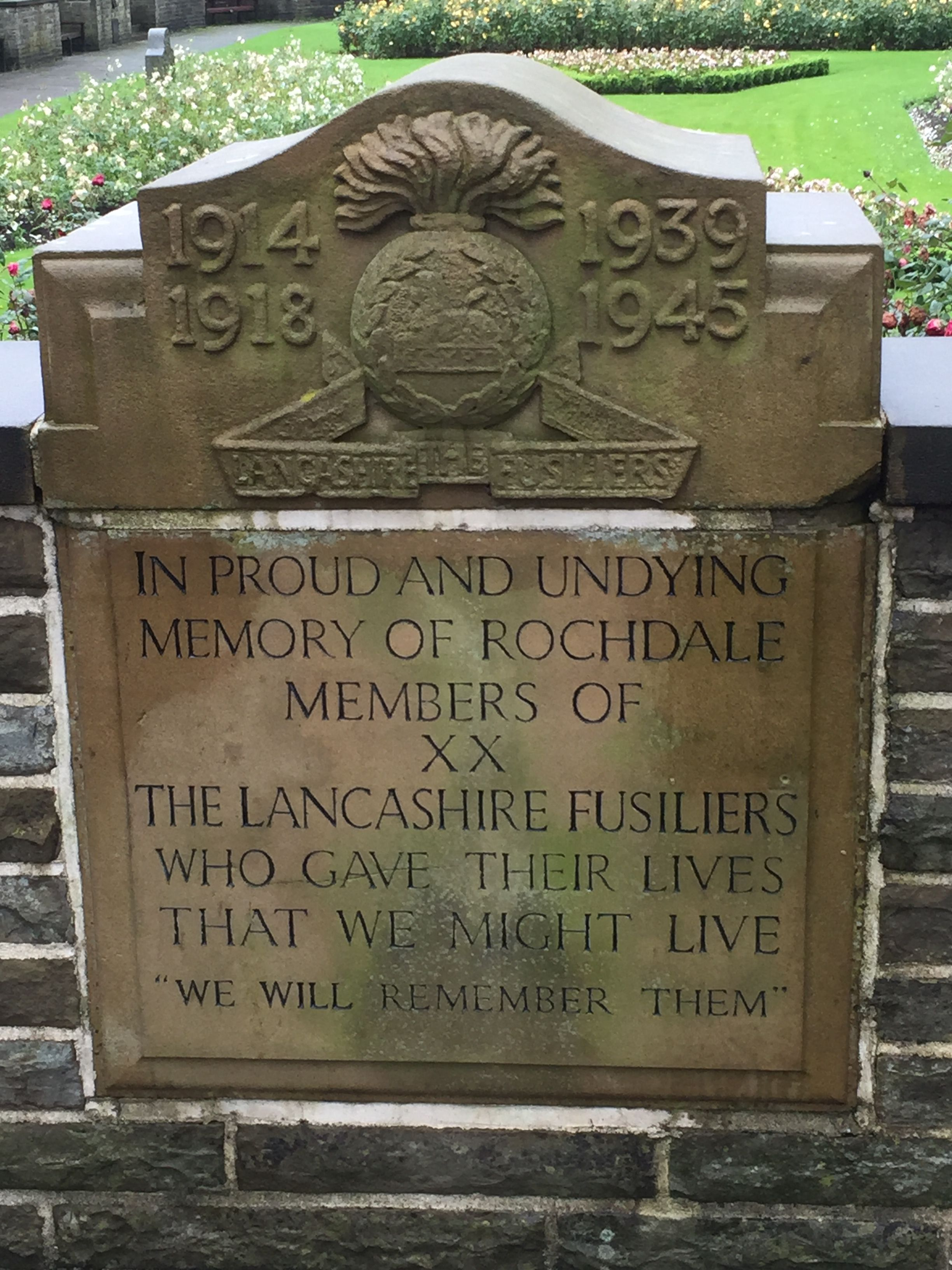 Memorial to Rochdale members of the Lancashire Fusiliers, Memorial ...