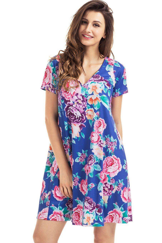 Blue pocket design v neck summer floral shirt dress floral shirt