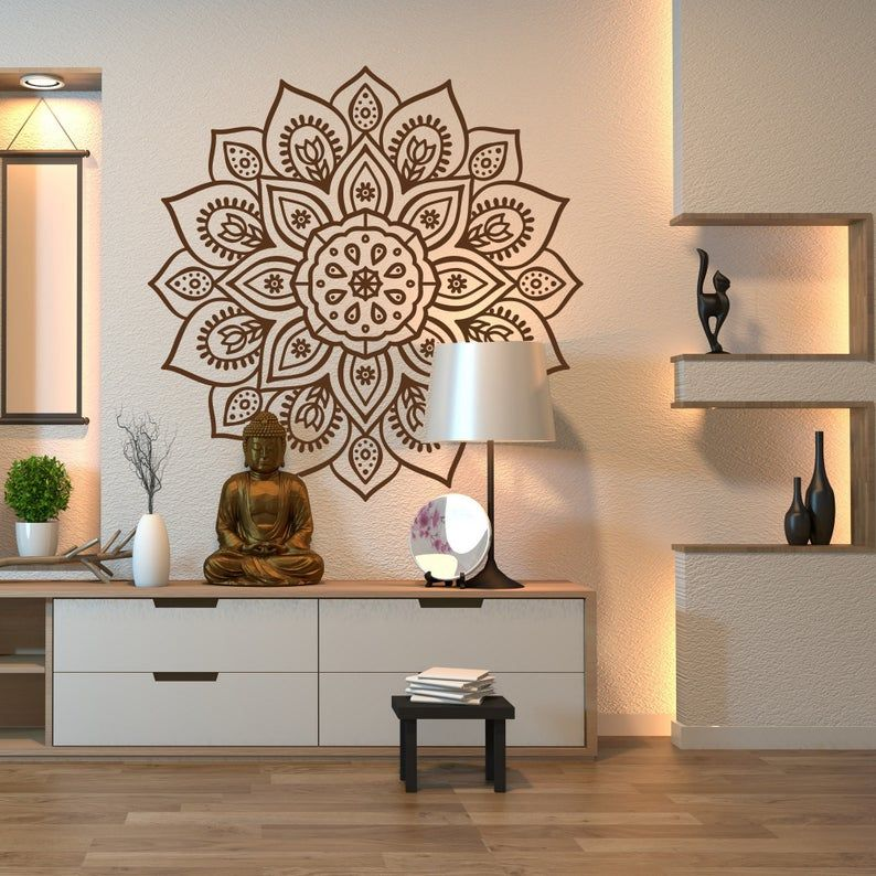 Mandala Wall Art Decal For Indoor Outdoor Use Mandala Wall Etsy Indian Wall Decor Meditation Room Decor Yoga Room Decor