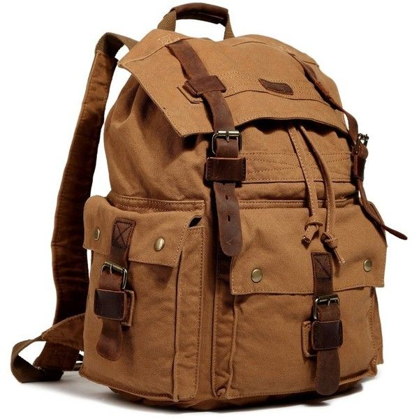 978542e17308 Amazon.com  Kattee Men s Canvas Leather Hiking Travel Backpack ...