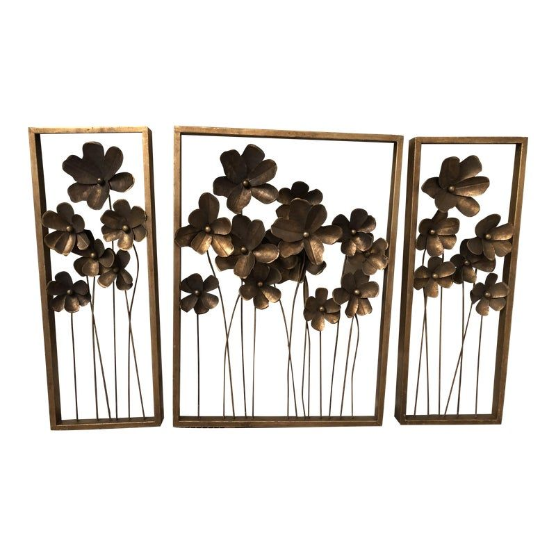 Vintage Framed Metal Poppy Flower Wall Art Set Of 3 In 2020 Flower Wall Art Outdoor Wall Art Wall Art Sets