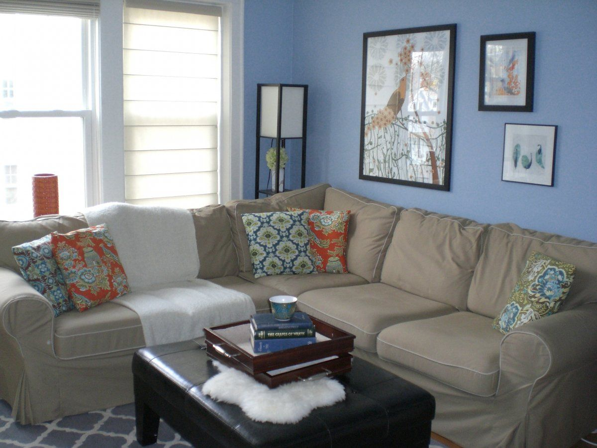 Living Room Brown Couch With Blue