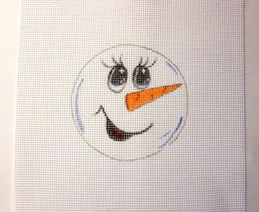 $9.95   Big Eyed Snowman Face Christmas Ornament Handpainted Needlepoint Canvas