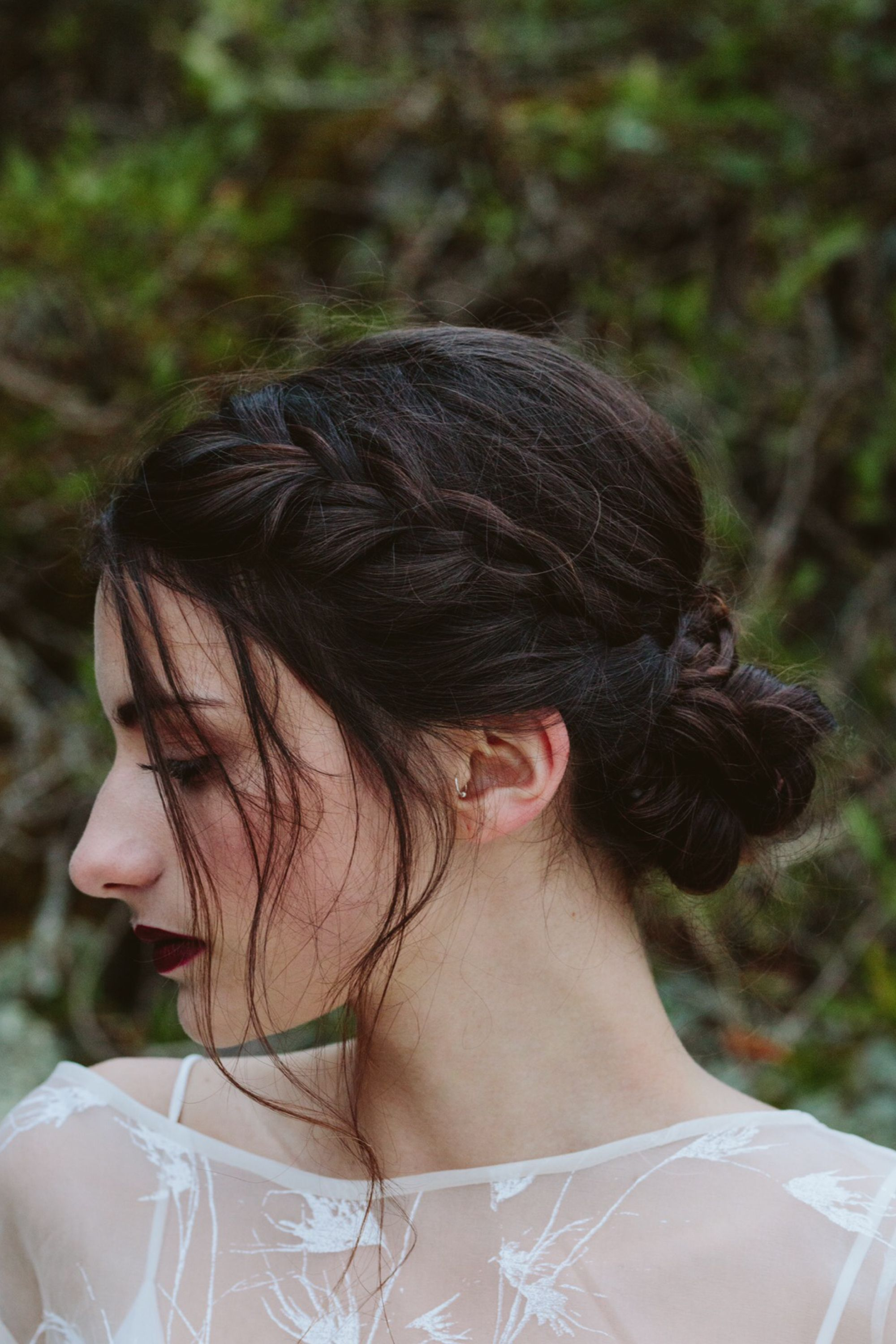 Boho Hair Red Lip Country Style Braid Brunette Hair Upstyle