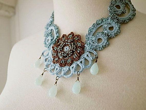 5ba13d311157f Irish Crochet Lace Jewelry (Archaic Beauty II) Fiber Art Necklace ...