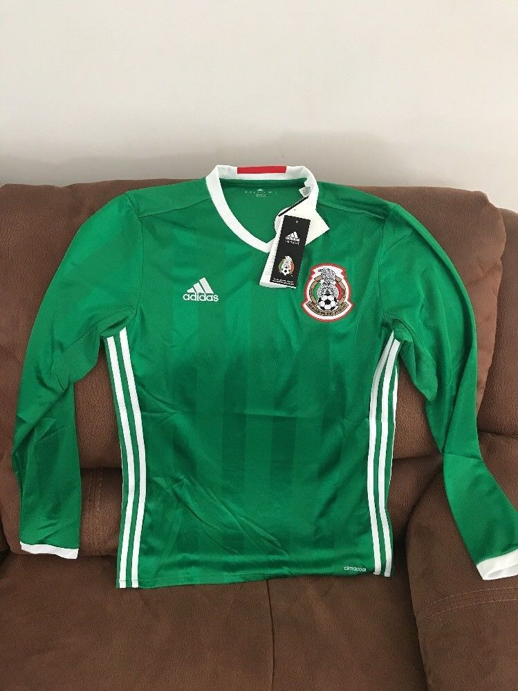 adb09797ab7 adidas Mexico El Tri 2016 Long Sleeves Green Soccer Jersey NWT Size S Men    eBay