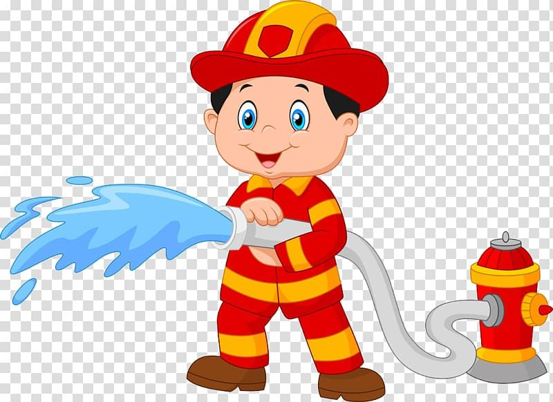 Fireman Illustration Firefighter Cartoon Fire Hydrant Of Firefighters Holding Hose Transparent Background Pn Fireman Rabbit Illustration Firefighter Drawing