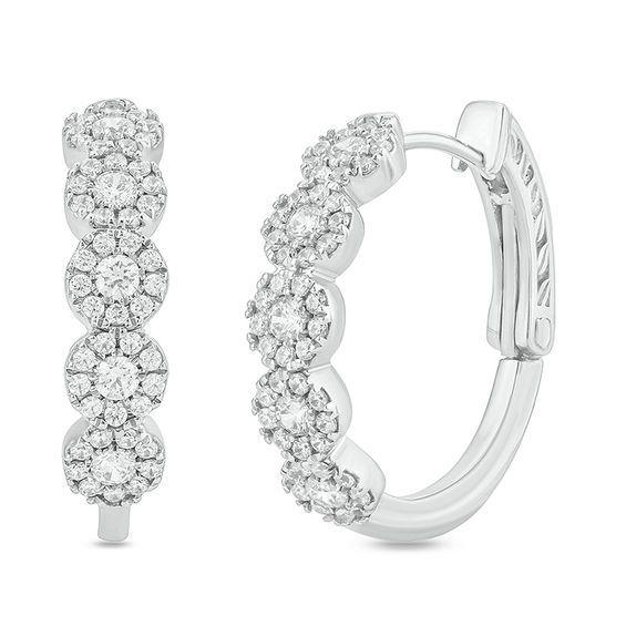 9c59b0f60d439 1 CT. T.w. Diamond Frame Hoop Earrings in 10K White Gold in 2019 ...