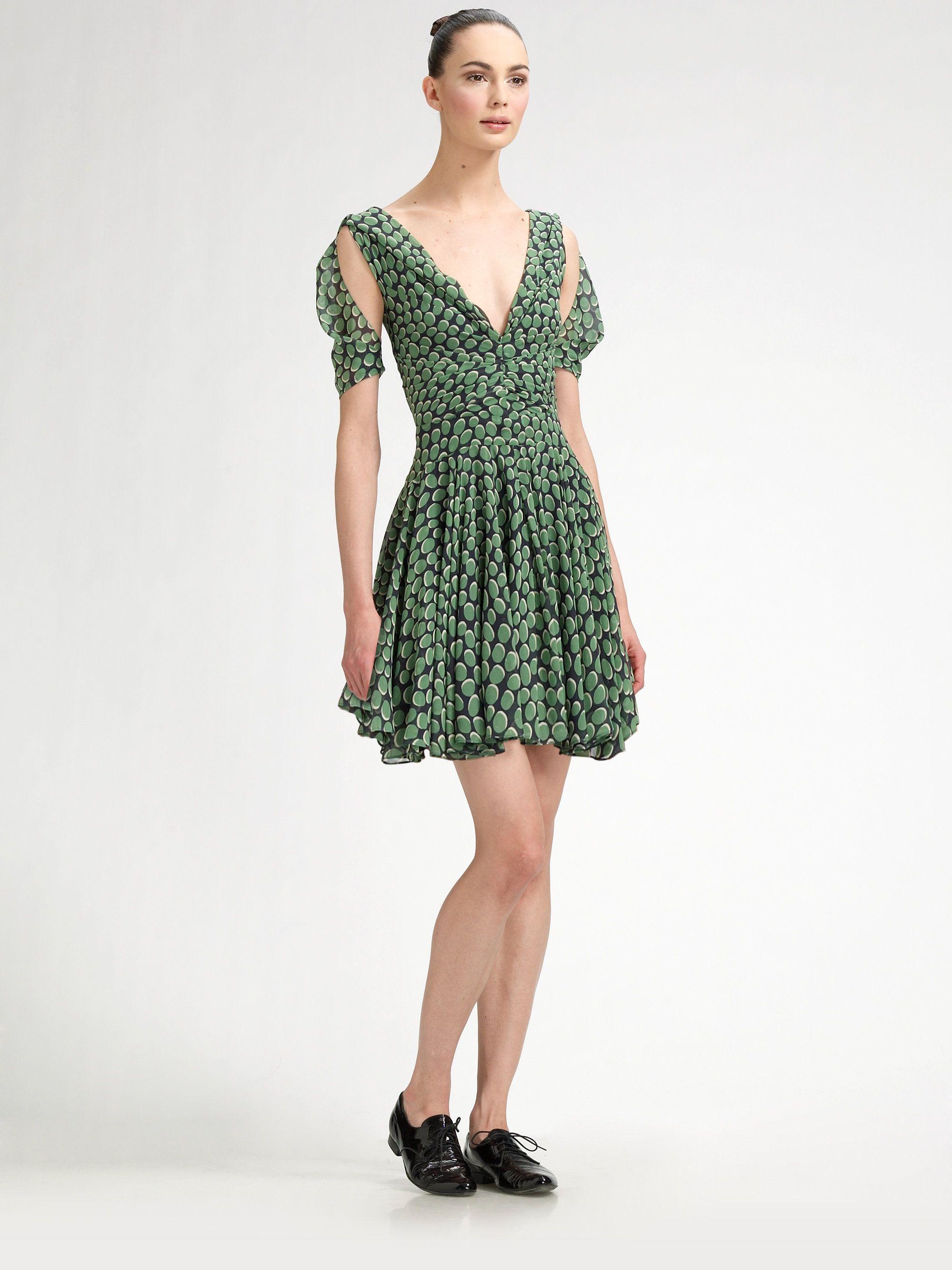 Z Spoke By Zac Posen Silk Polka Dot Flared Dress In Green Navy Le Lyst