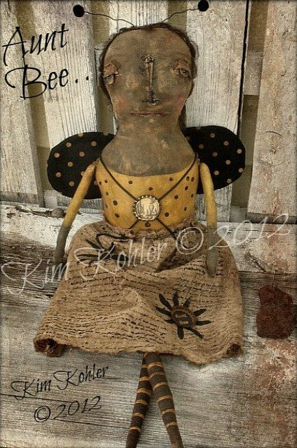 PATTERN Extreme Primitive Black Doll w// Sunflowers /& Bumble Bee Ornie Doll