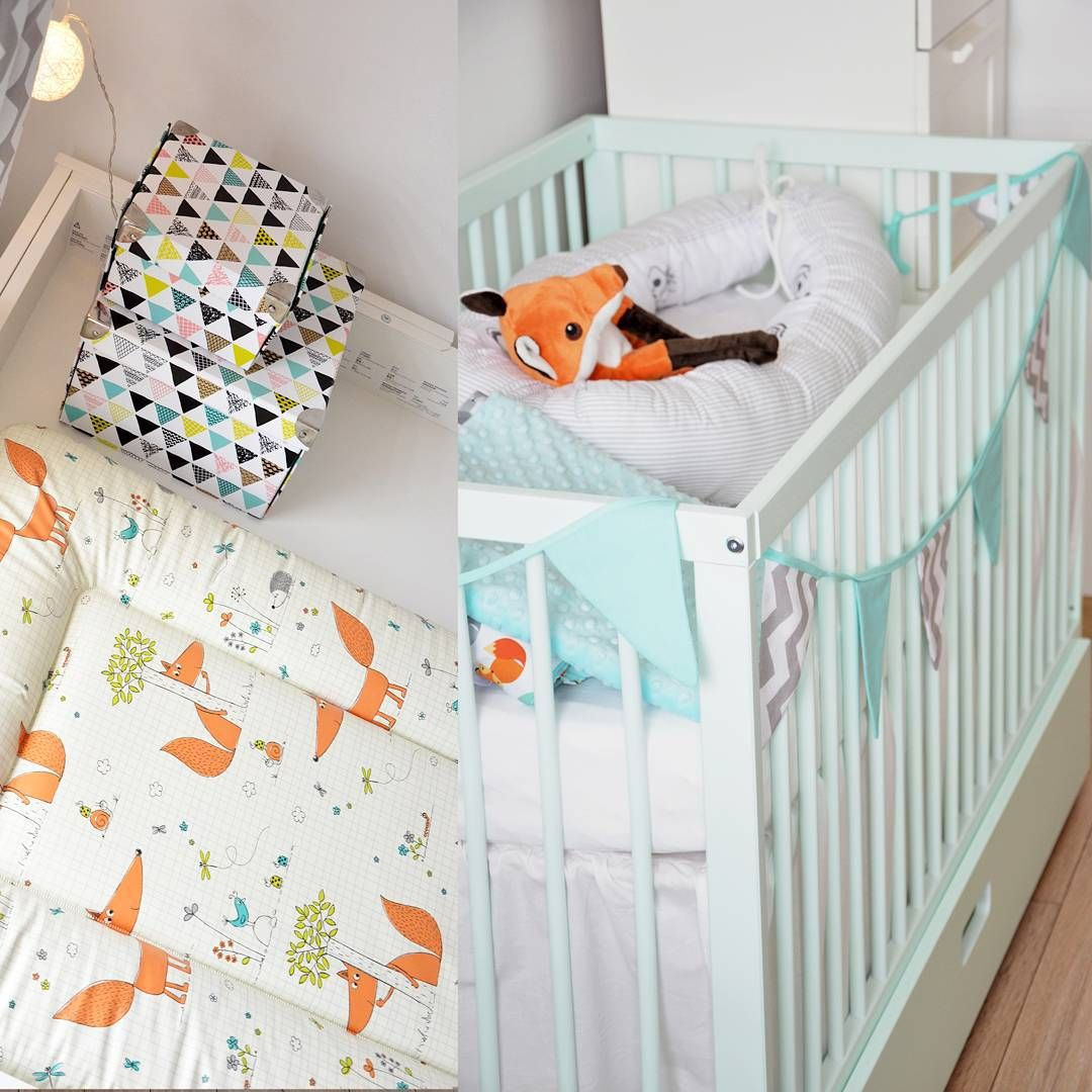Dusty Aqua moKee Mini Cot and... a fox...