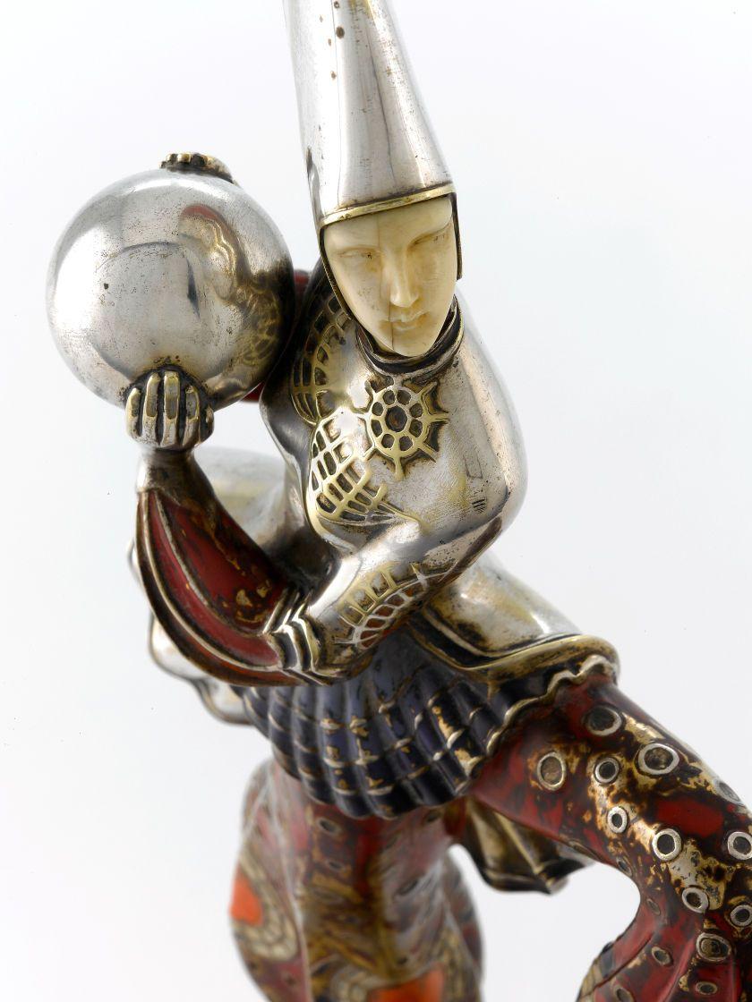 Fine Art - Sculpture, European:Modern (1900 - 1949), GERDAGO (GERDA IRO). An Enameled, Silver Gilt, and Ivory ExoticDancer, circa 1925. Sign...
