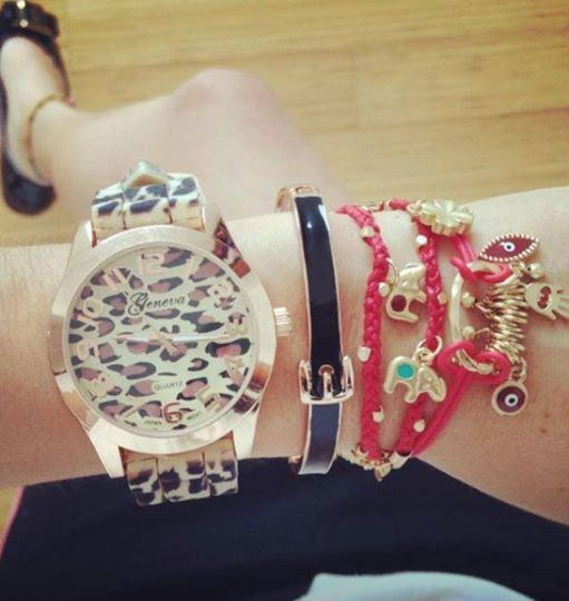 Arm Party Arm Candy pictures Geneva Leopard-Print Strap Watch and bracelet multilayer bracelet red and black fb.me/3d6r2esea