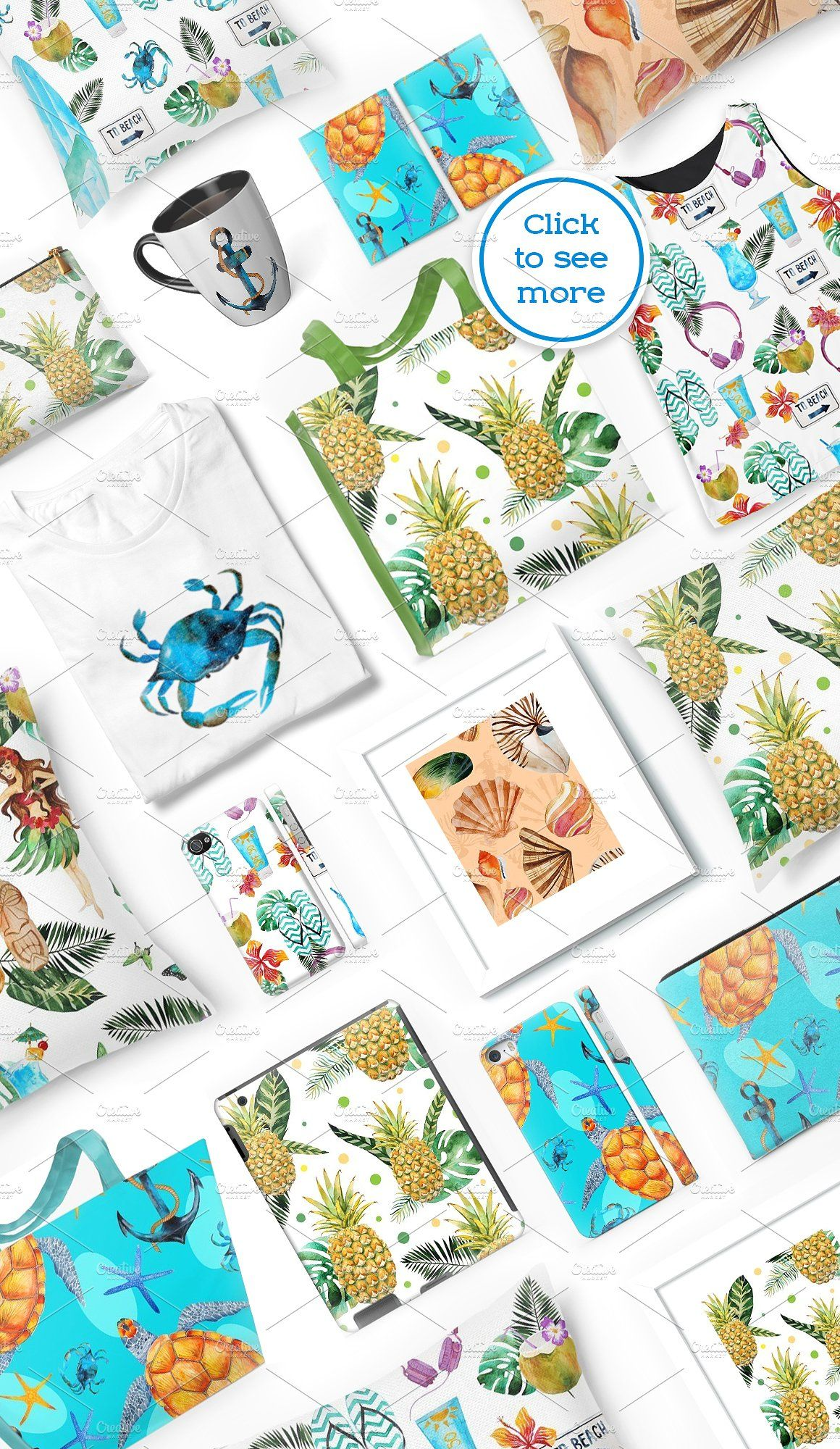 Aloha Watercolor Bundle Watercolor Includes Design Bundle
