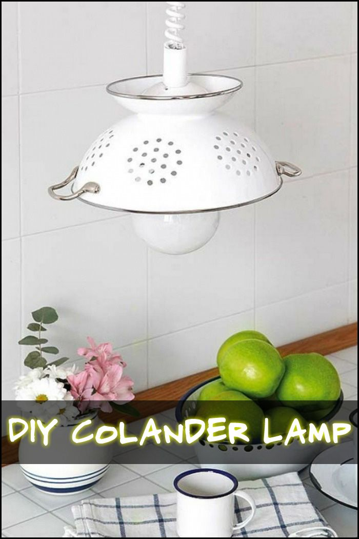 This pendant lamp made from a colander is the perfect lighting for the kitchen!