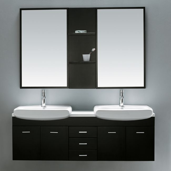 Superieur Vigo VG09001104K 59 Inch Double Bathroom Vanity With Mirrors And Shelves