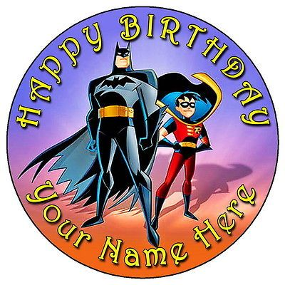 """Batman & robin - 7.5"""" personalised round #edible #icing cake #topper,  View more on the LINK: http://www.zeppy.io/product/gb/2/261931267756/"""