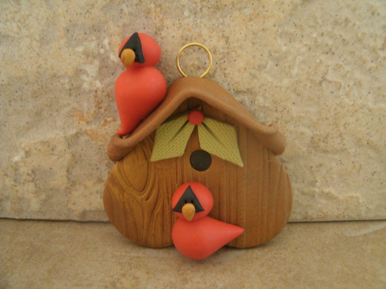 Cardinal Birdhouse Christmas Ornament