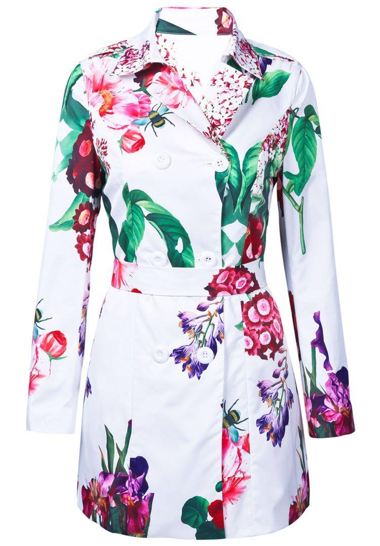 White Lapel Long Sleeve Floral Belt Trench Coat