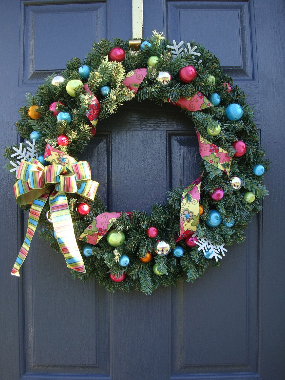 Colorful Holiday Wreath with Balls and Snowflakes. $42.00, via Etsy.