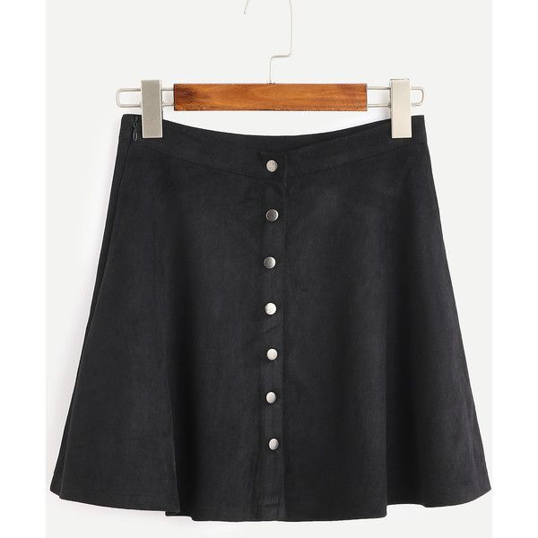 Black Faux Suede Button Front A-Line Skirt (£10) ❤ liked on Polyvore featuring skirts, black, button front skirt, a line skirt, button front a line skirt, knee length a line skirt and a line mini skirt