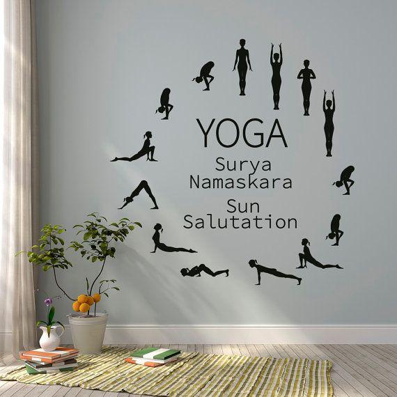 sun salutation yoga wall decal- yoga studio vinyl wall decal- surya