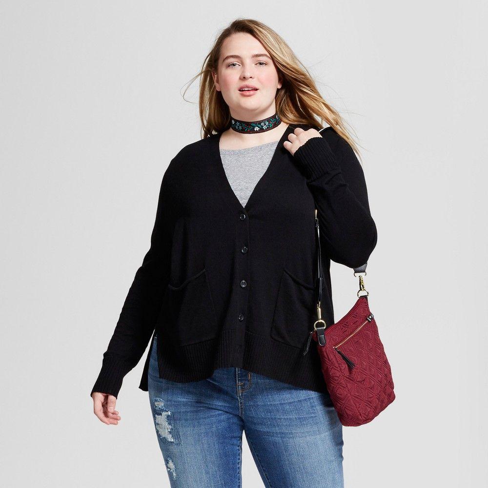 Women's Plus Size Boyfriend Cardigan - Mossimo Supply Co. Black 3X ...