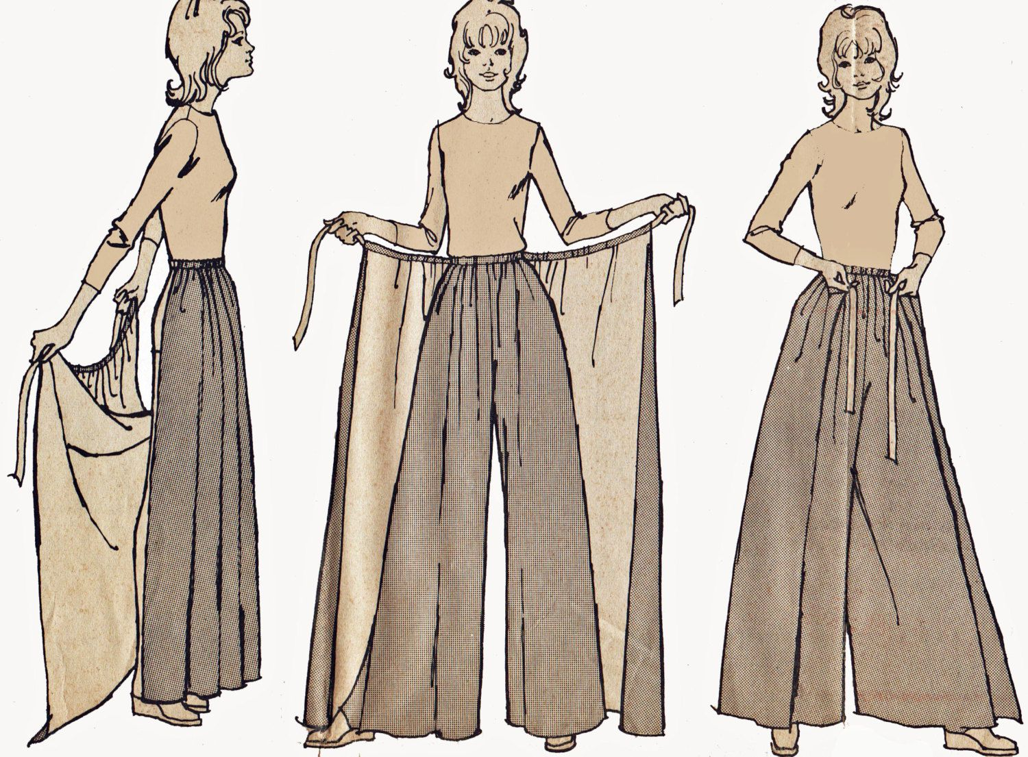 palazzo pants with skirt overlay pattern vintage 1970s