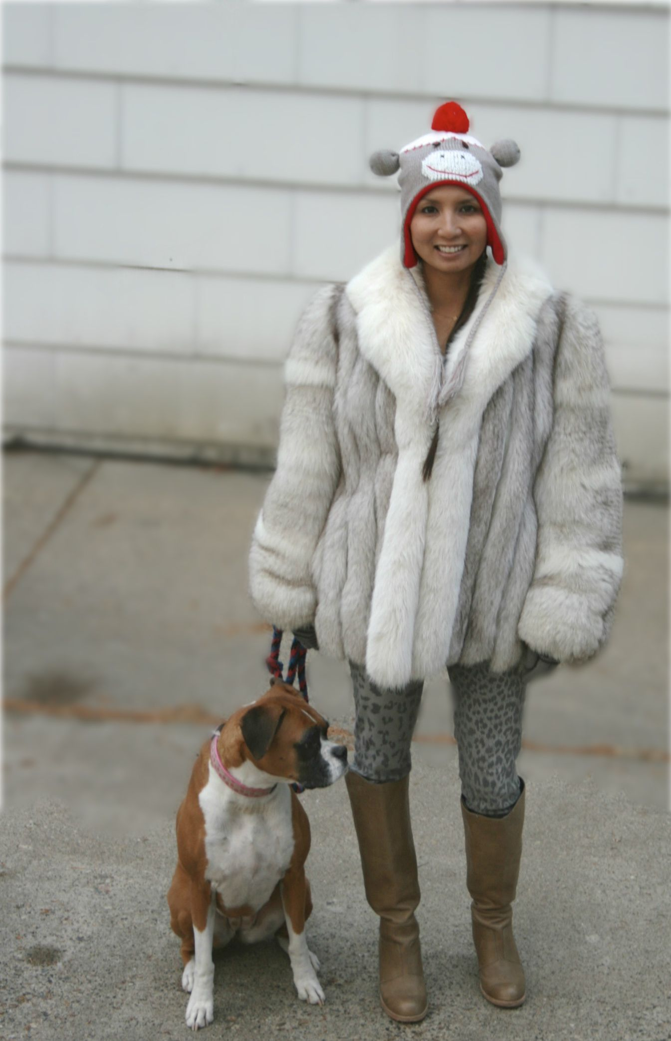 From the PS BANANAS #fashionblog: SWOON! #Fox #Fur coat, #CurrentElliott #skinnyjeans, #DolceVita Quince #boots