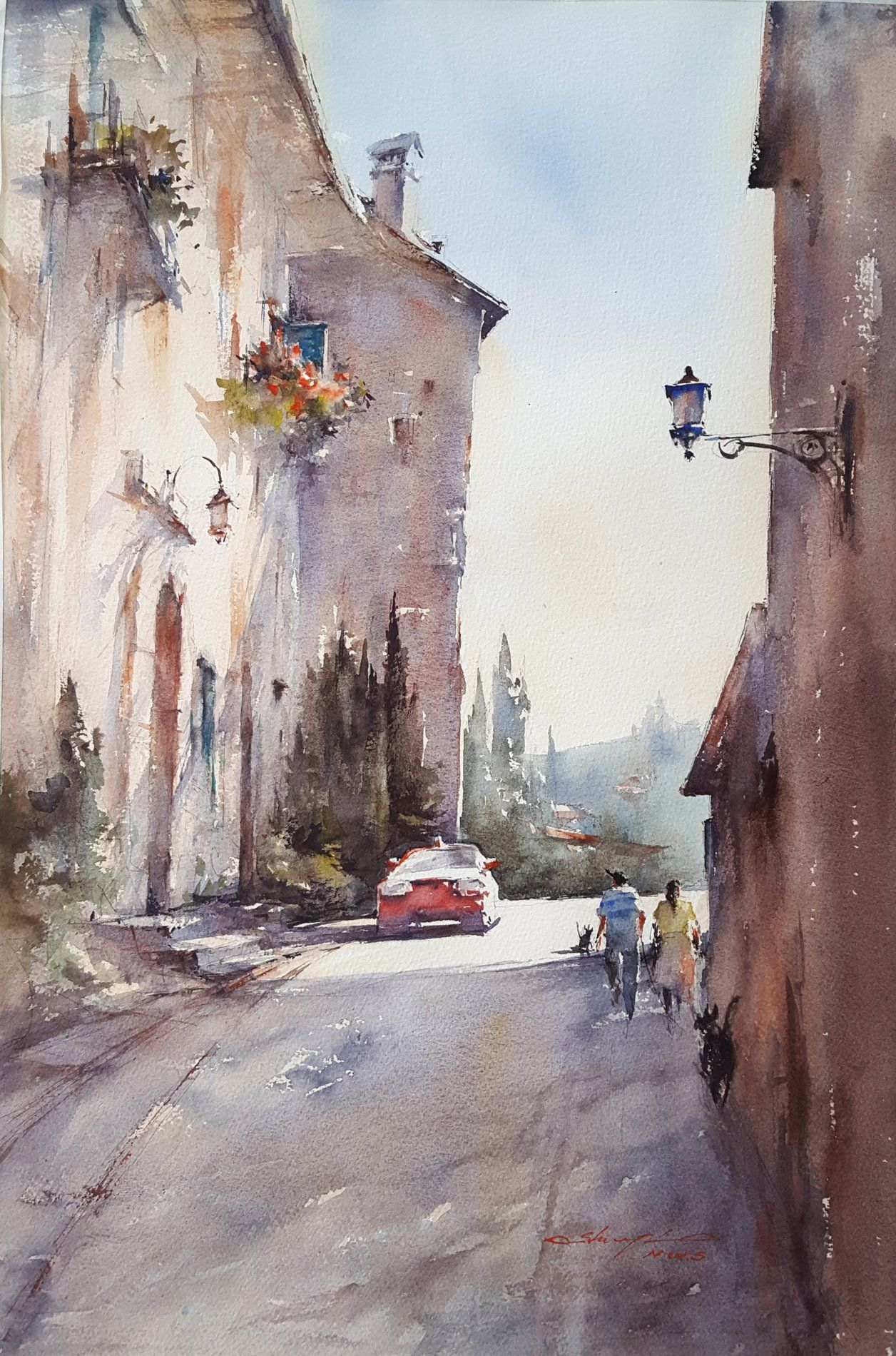 Shuang Li Morning Stroll Tuscany Italy Watercolor On Paper 22