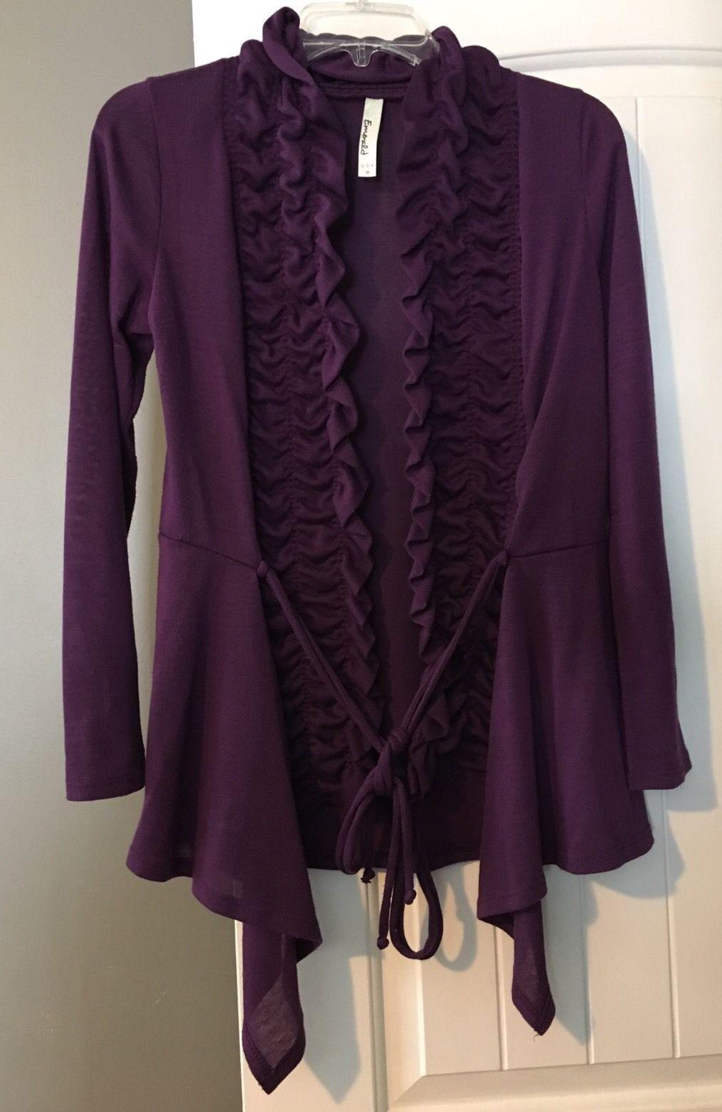 Womens Emerald Purple Ruffle Front Cardigan Sweater Medium ...