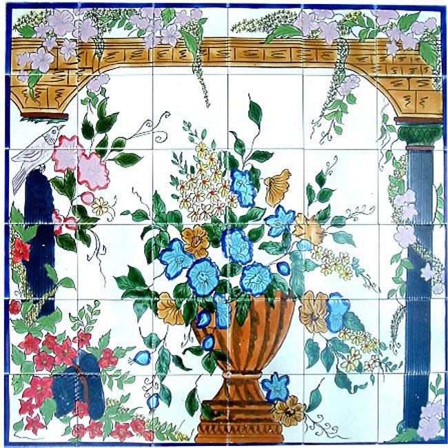 Backsplash Veranda Mosaic Ceramic Wall Tile Mural (Set Of 36) By Arts  Exotiques Part 84