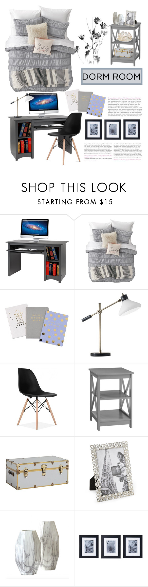 """""""Dorm Room"""" by designsbynat ❤ liked on Polyvore featuring interior, interiors, interior design, home, home decor, interior decorating, Prepac, Nordstrom Rack, Adesso and PBteen"""