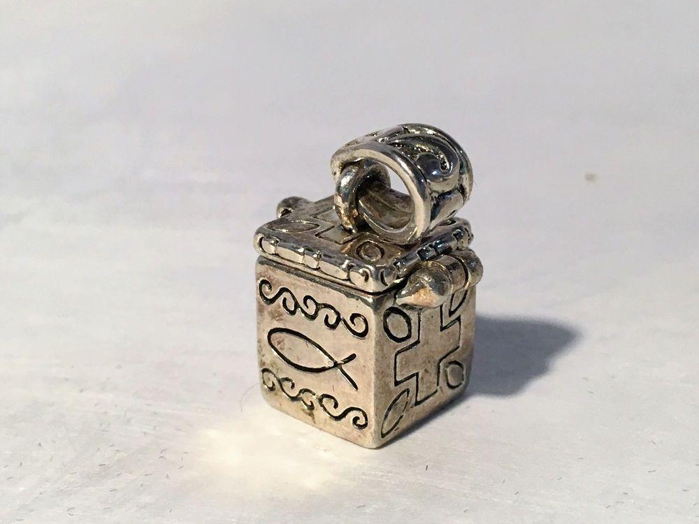 Vintage Charm Prayer Box Opens, Marked MJ Inside, Sterling Silver?, Very Cute #MJ #Charm