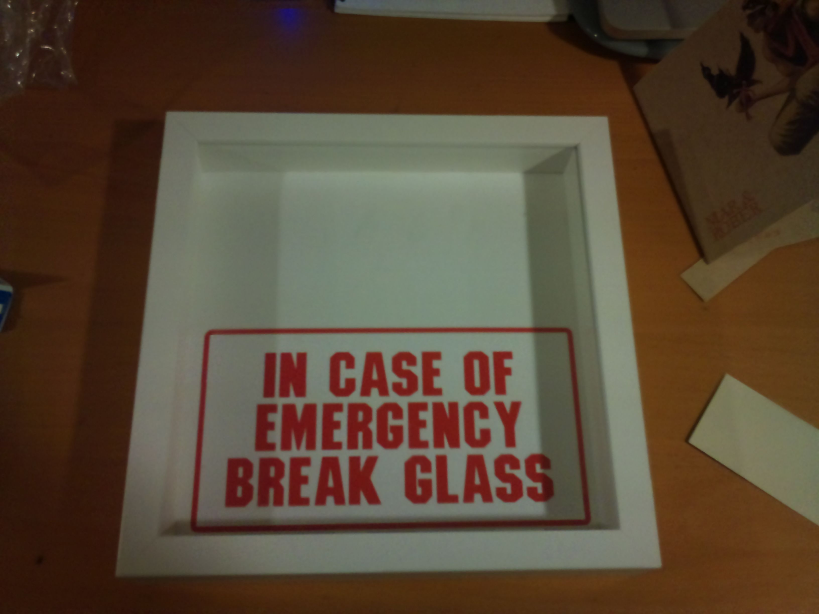 Emergency Make Your Ow Shadow Box With Vinal Decal In Case Of