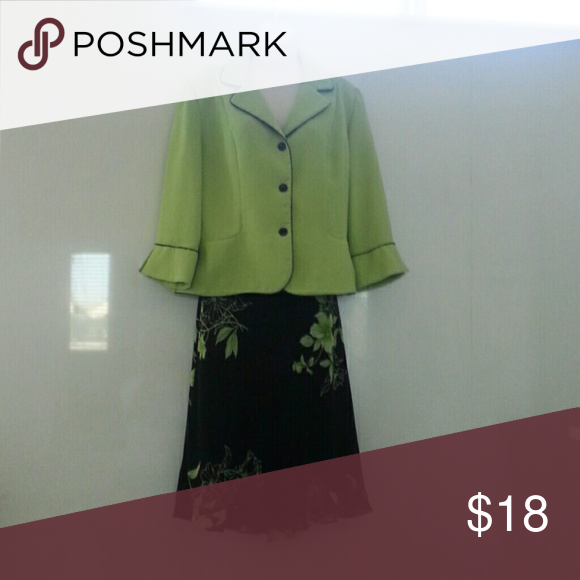 Suit Lime green jacket with black skirt with lime flower design.   Skirk has elastic waist & a very cute layered hem. Jacket has black buttons & trimmed in black. Dresses