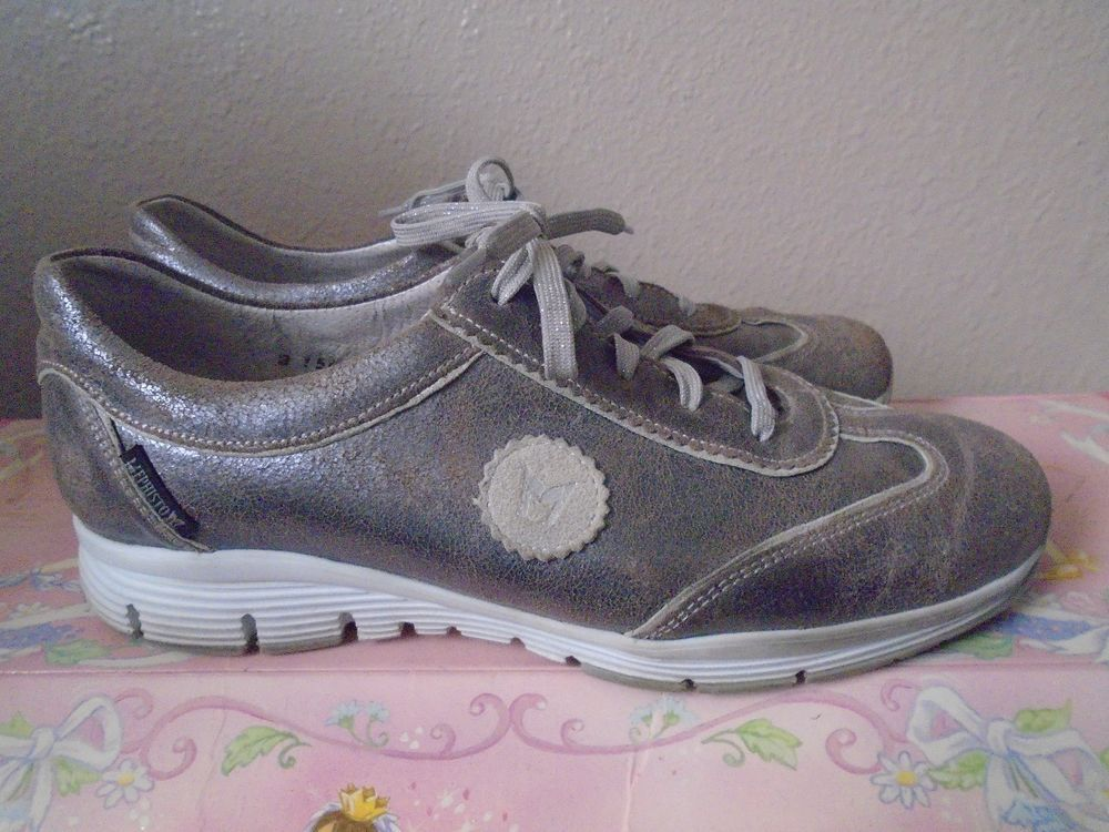 MEPHISTO Runoff Silver Distressed Leather Shoes Air-Jet Shock Absorber sz 9 US #Mephisto #Comfort