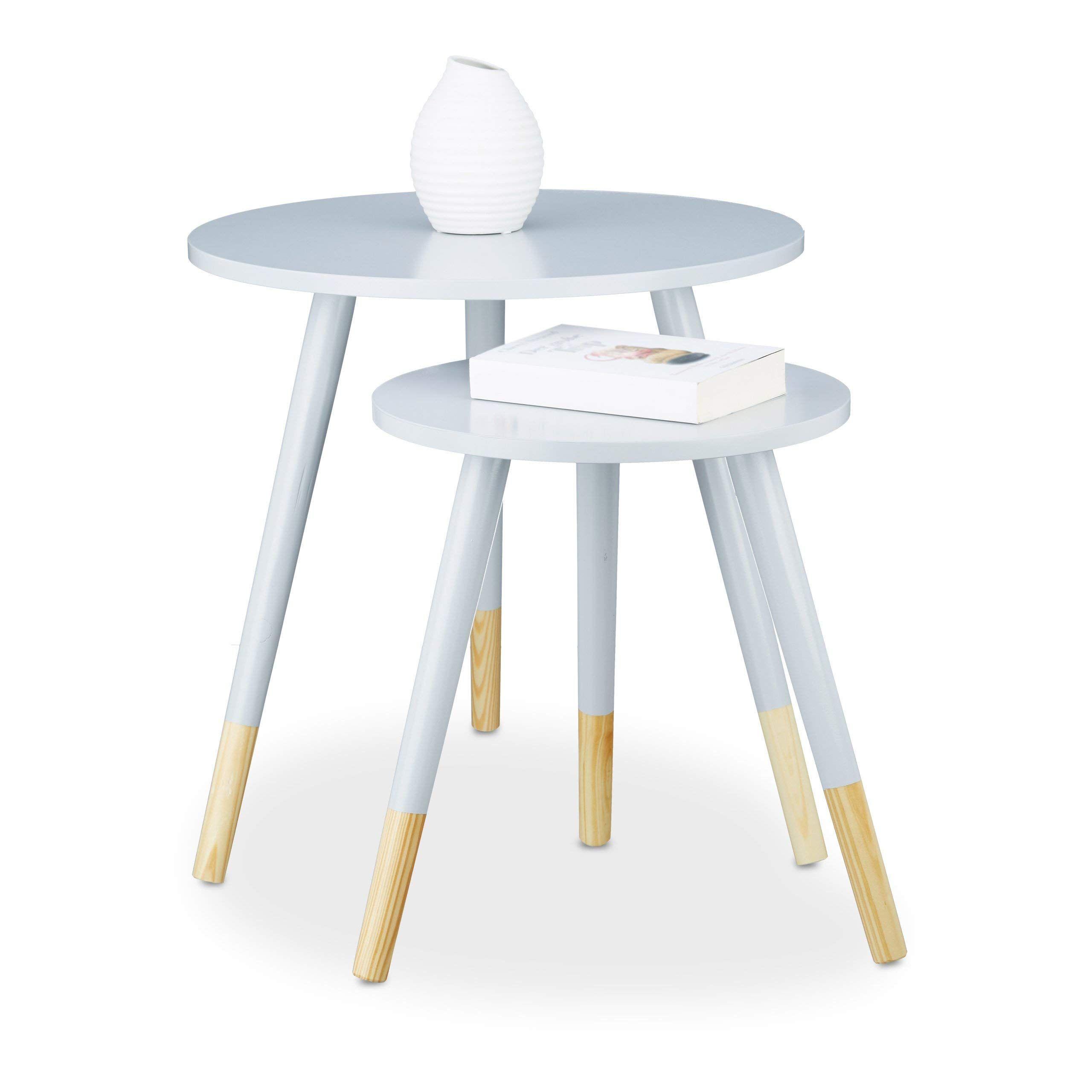 Relaxdays Grau Beistelltisch Rund 2er Set Holztisch Dreibeiner Hxd 48 X 48 Cm Matt Lackierter Wohnzimmertisch In 2020 Beistelltisch Rund Satztische Wohnzimmertisch