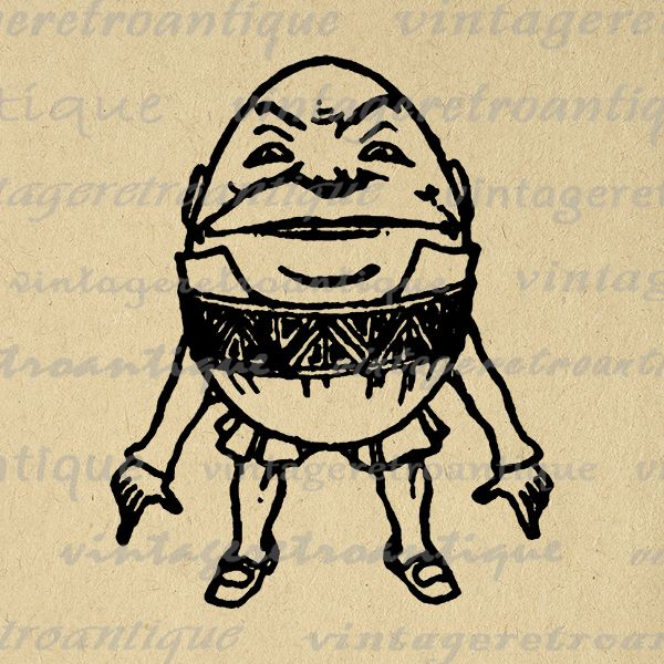 Digital Graphic Humpty Dumpty Alice In Wonderland Image Printable Antique Clip Art