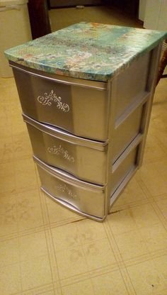 Plastic sterlite drawers with decoupage top, silver paint and stencil on front…