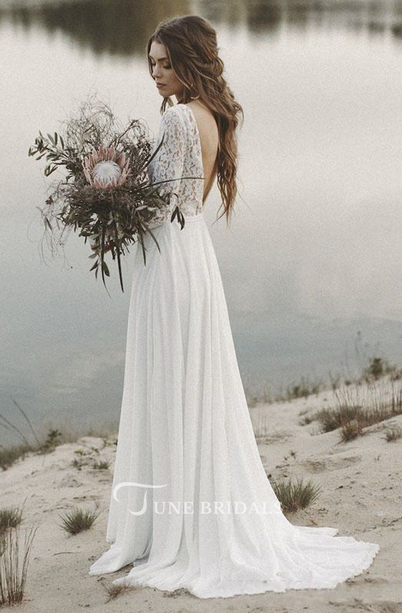 Chiffon A Line Beach Wedding Dress Long Sleeves V Neck Backless Boho Bridal Gown