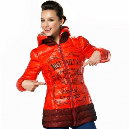Women's Hooded Two-way Separating Zipper Printing Mid-length Down Jacket