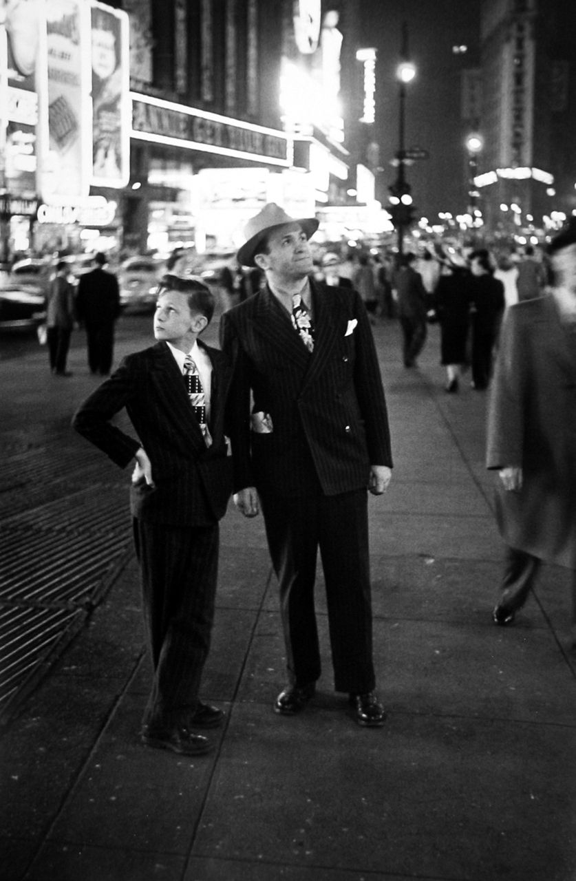 "Louis Faurer: ""Father and Son, Times Square, New York"" (late 1940s)."