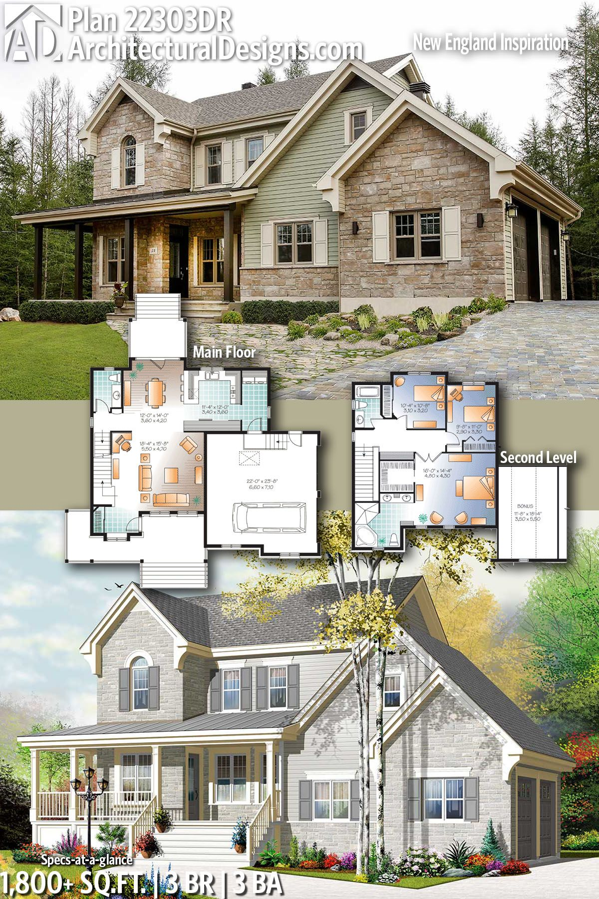 Plan 22303dr New England Inspiration Farmhouse Plans Dream House Plans England Houses