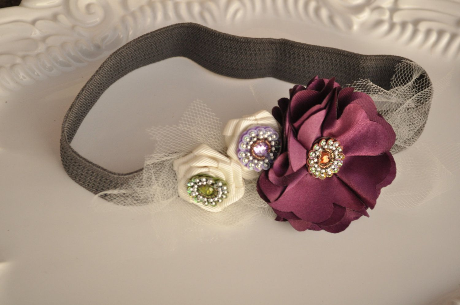 Floral Headband Tulle and Beads Funky Floral on by lewisandbucky, $18.00