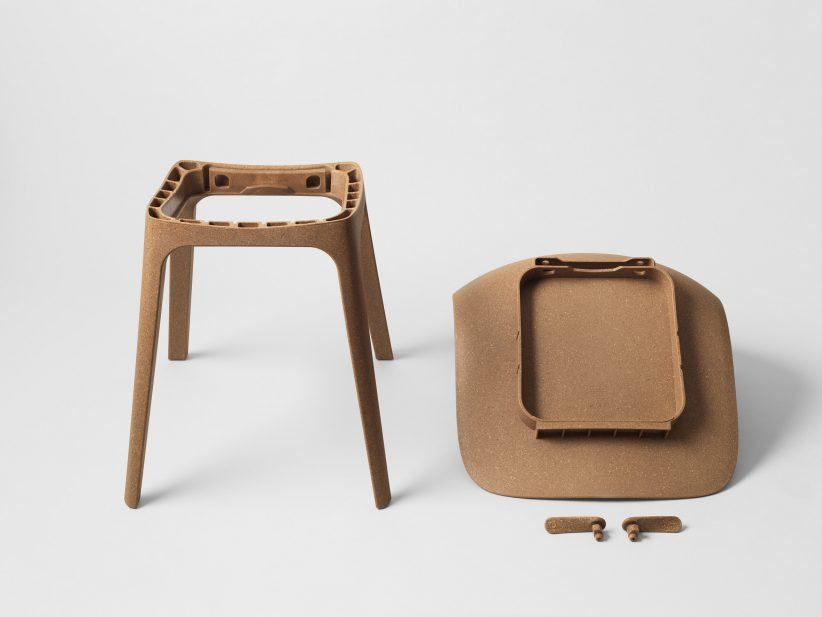 Reclaimed wood chips and recycled plastic were both used to create this IKEA chair, designed by Swedish studio Form Us With Love