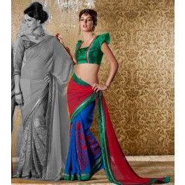 Red & Blue Bhagalpuri Silk Saree