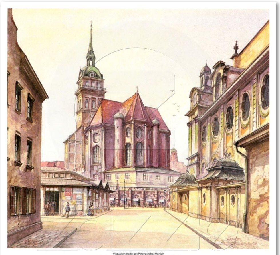 Viktualienmarkt mit Peterskirche, Munich - Adolph