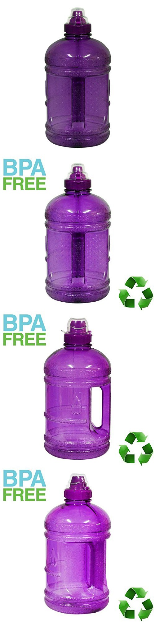 757d815a46 1/2 Gallon (64 oz.) BPA Free FDA Approved Plastic Water Bottle w/ 48mm  Twist Cap Perfectly For Outdoor Sports Gym Fitness Home (Purple)