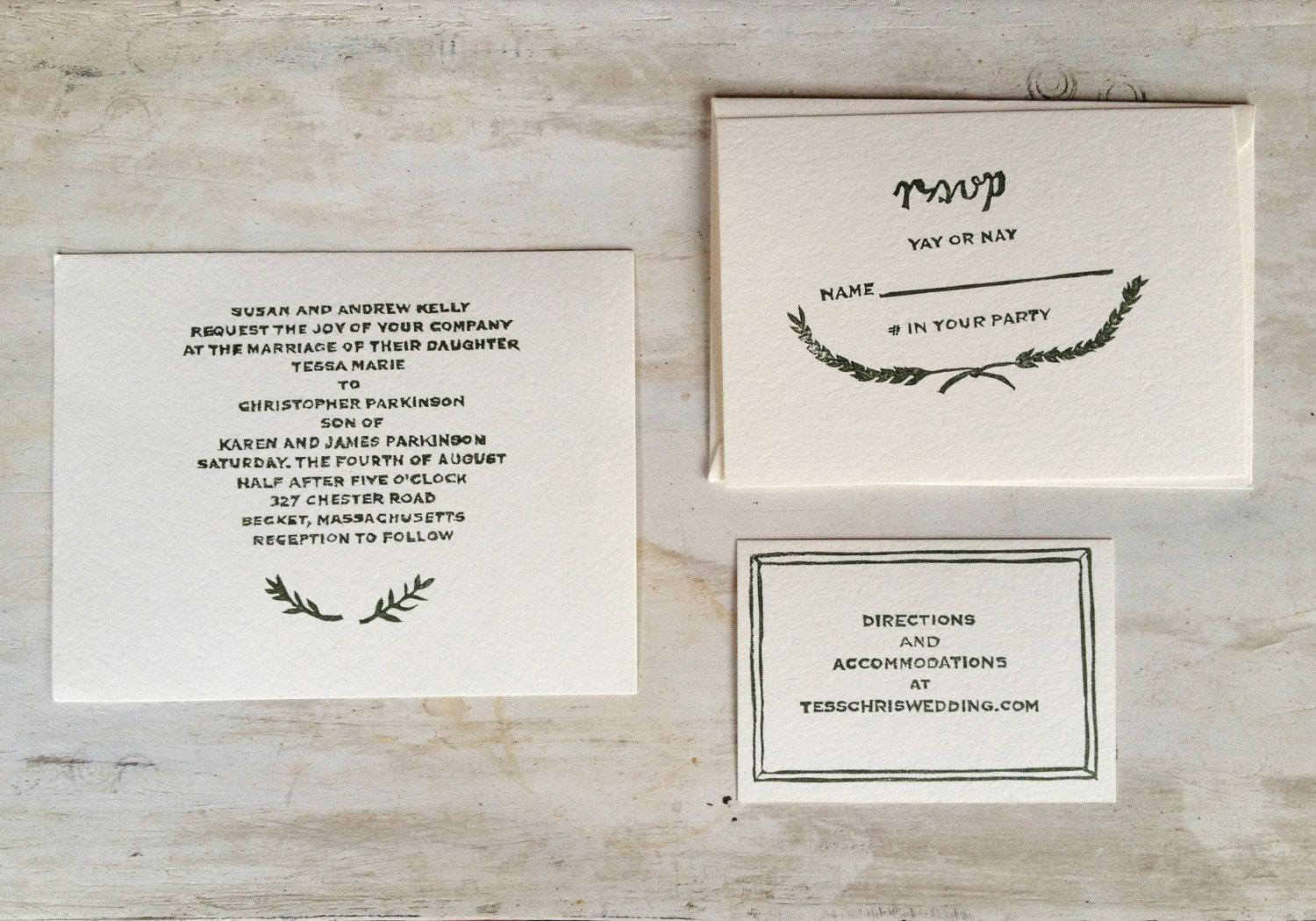 Wedding Invitation Rubber Stamp Set // Mixed Laurel | Chicago ...